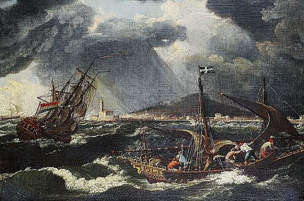 Attributed to Johann Anton Eismann (Salzburg 1604-1698 Venice) Shipping in choppy seas, a Mediterranean port beyond