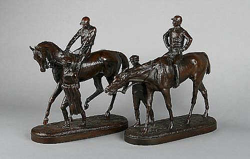 John Willis Good (1845-1879): A pair of bronze models of racehorses, jockeys and their trainers