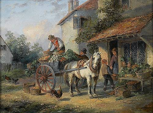 Georgina Lara (British, fl. 1862-1871) The village store 23.5 x 30.5 cm. (9 1/4 x 12 in.)