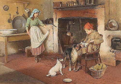 Carlton Alfred Smith, RI, RBA, ROI (British, 1853-1946) The new arrival 45 x 65/5 cm. (17 3/4 x 25 1/4 in.)