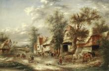 Attributed to Georgina Lara (British, active 1840-1880) Near Guildford, Surrey; Village bustle, a pair each 51 x 75cm (20 1/16 x 29 1/2in).(2)