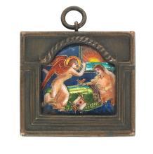 Phoebe Anna Traquair HRSA (1852-1936) 'Morning' enamel 4.5 x 4.7 cm. (1 3/4 x 1 7/8 in.), frame 6 x 6.8 cm. (2 3/8 x 2 11/16 in.)