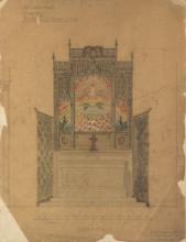 Phoebe Anna Traquair HRSA (1852-1936) Study for Elevation of raredos in oak for All Saints Church, Glasgow 34.5 x 27 cm. (13 9/16 x 10 5/8 in.)