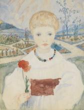 Phoebe Anna Traquair HRSA (1852-1936) Portrait miniature of Hilda Traquair, age five years 8.5 x 6.8 cm. (3 3/8 x 2 11/16 in.) (together with another 3 portraits of family members (4))