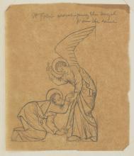 Phoebe Anna Traquair HRSA (1852-1936) 'St. John worshipping the angel' 12.6 x 11 cm. (4 15/16 x 4 5/16 in.) unframed