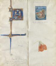 Phoebe Anna Traquair HRSA (1852-1936) Two illuminations - After French 13th Century; and Flemish, St. John on Patmos overall 18 x 15.5 cm. (7 1/16 x 6 1/8 in.)
