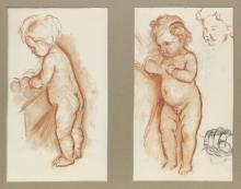 Phoebe Anna Traquair HRSA (1852-1936) Miscellaneous studies on paper of infants 36 x 28.5 cm. (14 3/16 x 11 1/4 in.)