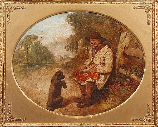 Alfred H. Green (British, active 1844-1862) A countryman's lunch, with begging dog