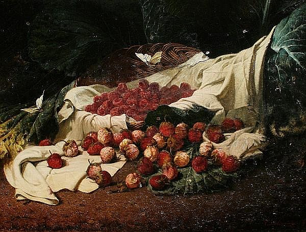 Christophe Cathelinaux (1819-1883) Strawberries in a basket with butterflies