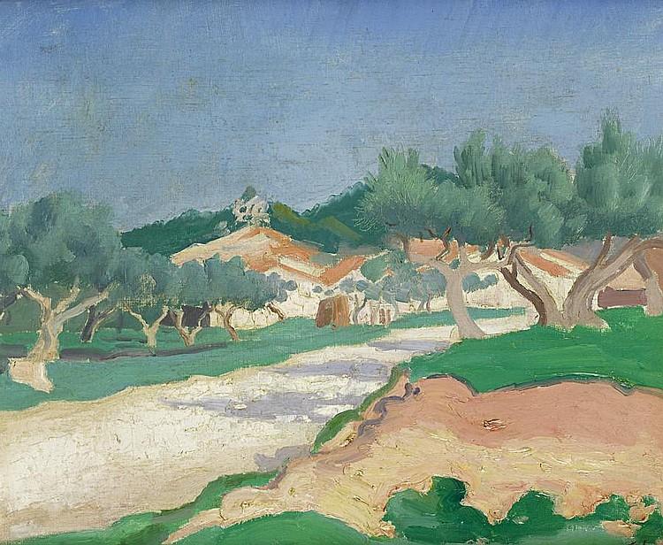Augustus John O.M., R.A. (British, 1878-1961) La Route de Marseilles 38 x 46 cm. (15 x 18 in.)