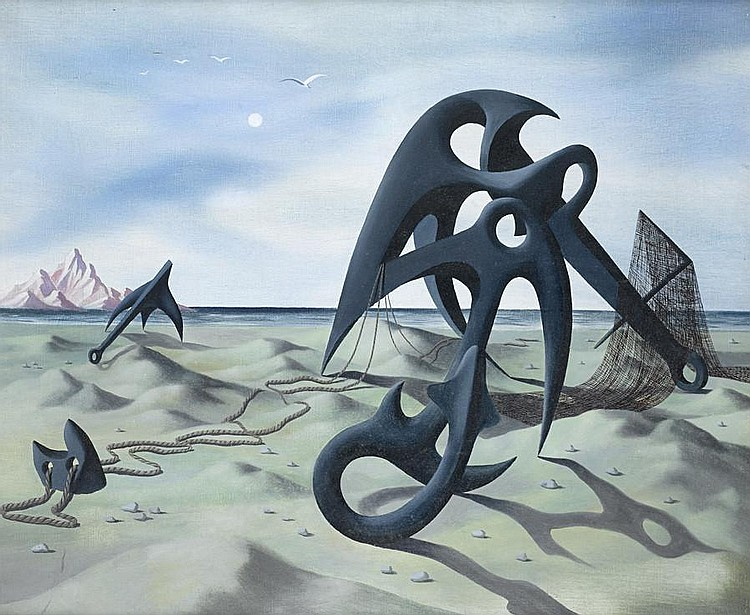 Tristram Hillier R.A. (British, 1905-1983) Objects on a Beach, No.2 64 x 76.3 cm. (25 1/4 x 30 in.)