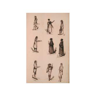 William Lee (British, 1810-1865) Studies of figures watercolour, pen and ink, within a sketch book, 32 x 19.5 cm, all unframed, (qty).