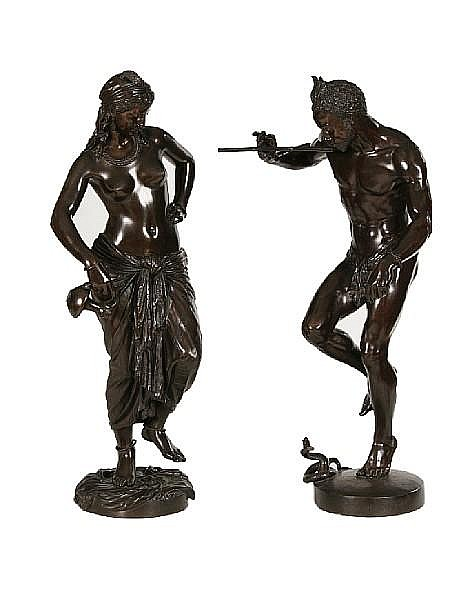 Baron Charles-Arthur Bourgeois, French (1838-1886) A pair of bronze models of Le Charmeur de Serpent and Odalisque cast by L. Marchand