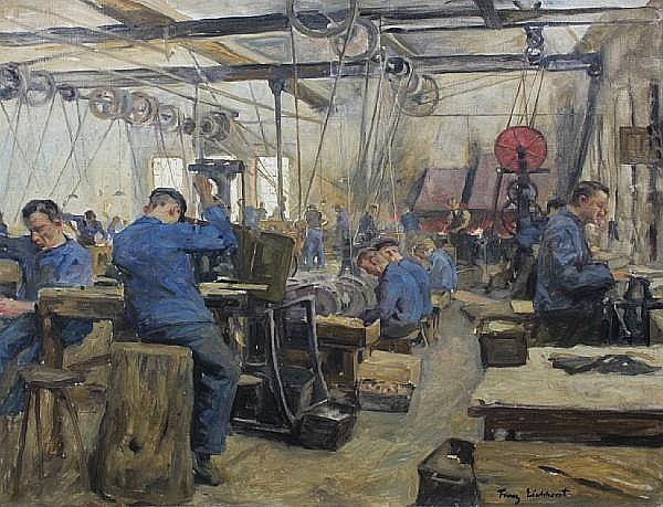 Franz Eichhorst (German, 1885-1948) Lathe workers 59 x 70cm.