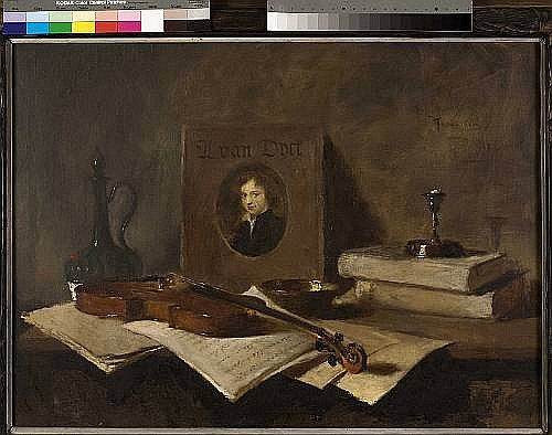 Haralambos Potamianos (Greek, 1909-1958) The musician's desk 70 x 95 cm.