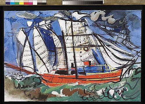 Dimitris Mytaras (Greek, born 1934) The red boat 80 x 120 cm.