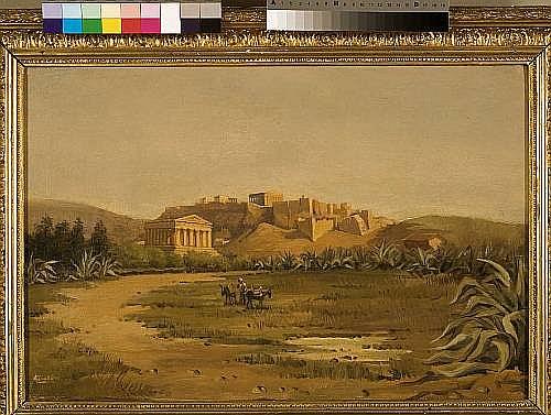 Luigi Gioli (Italian, 1854-1947) A view of the Thisseion with Acropolis beyond 40 x 60 cm.