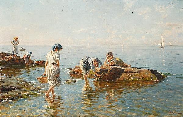 Bartolomeo Giuliano (Italian, 1825-1909) Women on the sea-shore