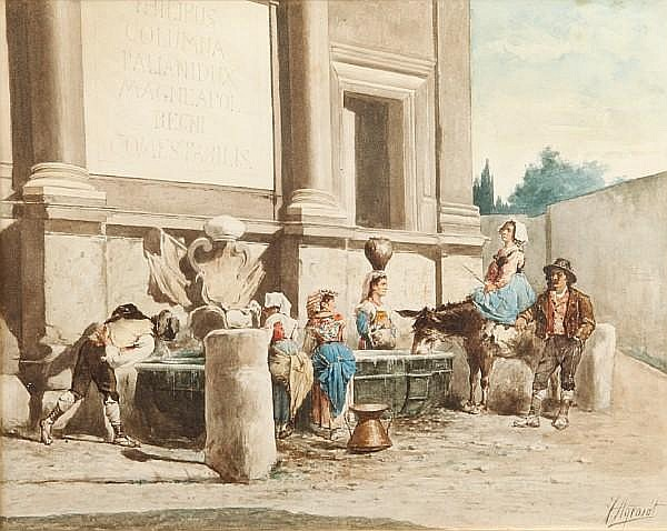 Joaquín Agrasot y Juan (Spanish, 1837-1919) A group of country people gathered by a water trough