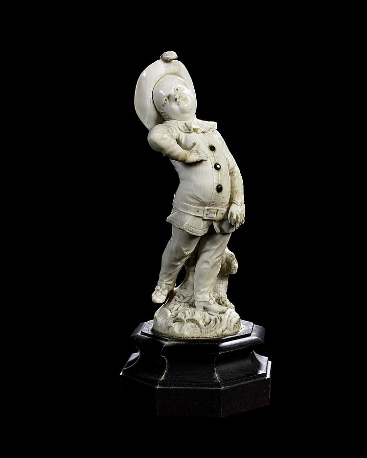 Circle of Christoph Ludwig Von Lucke, German (1703-1780) A late 18th century ivory figure of a boy
