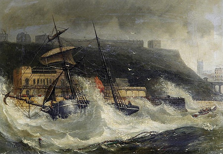 Joseph Newington Carter (British, 1835-1871) Wreck of the Copeland South Sheilds Nov 2 1861 at Scarboro Spa