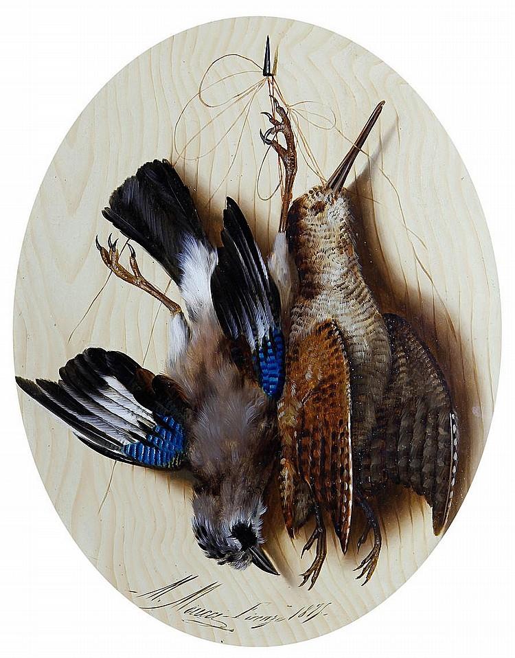 Michelangelo Meucci (Italian, 1840-1890) Still life of birds