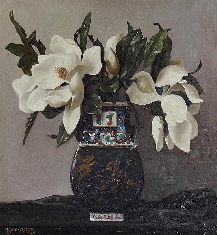 Bruno Croatto (Italian, 1875-1948) Still life of magnolias in an oriental vase