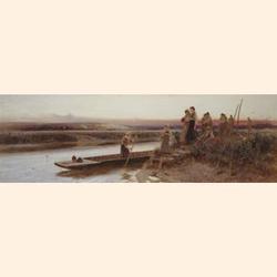 Thomas James Lloyd R.W.S., (British, 1849-1910) The Harvesters