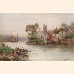 Walter Stuart Lloyd, (British, fl.1875-1929) A Fishing Village on the South Coast