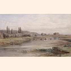 George Arthur Fripp R.W.S., (British, 1813-1896) The Thames at Sonning