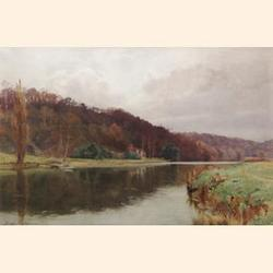 George Cockram R.I., R.C.A., (British, 1861-1950) Cliveden Reach on the River Thames