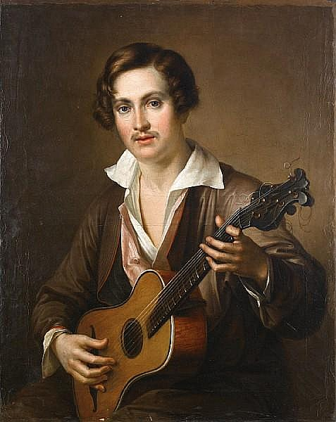 Attributed to Vasili Andreevich Tropinin (Russian, 1776-1857) The guitar player unframed