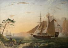 Charles Henry Seaforth (British, 1801-died after 1859) The King's ships getting underway in Mediterranean waters, sunrise