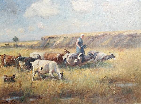 Johann Daniel Holz (German, 1867-1945) A goatherder with her flock