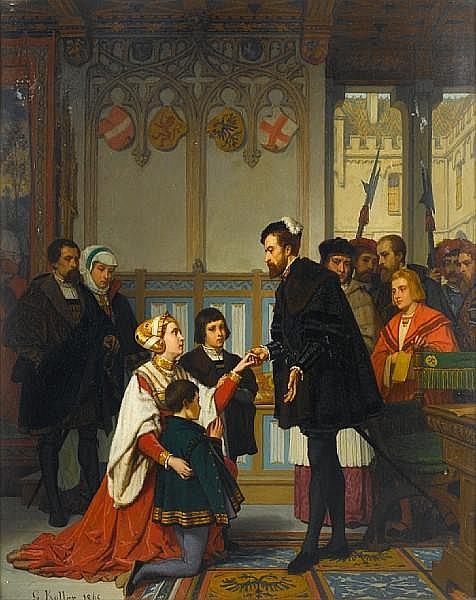 Wilhelm (Guillaume) Koller (Austrian, 1829-1884) Philippine Welser seeking mercy from Ferdinand I, Holy Roman Emperor