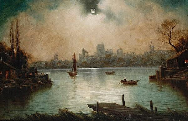 Nils Hans Christiansen (Danish, 1850-1922) Moonlit river scenes, a pair (2)