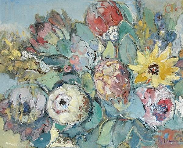 Alice Tennant (South African, 1890-1976) Still life of flowers