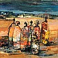 Johannes Wilhelmus (Jan) Dingemans (South African, 1921-2001) Congolese figures 46 x 45.5cm (18 1/8 x 18in)., Jan Dingemans, Click for value