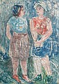 Israel Isaac (Lippy) Lipschitz (South African, 1903-1980) Two women standing in a field (S) 53.5 x 40cm (21 1/16 x 15 3/4in)., Israel Lipshitz, Click for value