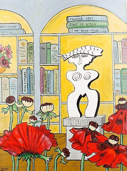 Edwina Sandys (British, 1938) Modern sculpture in a library