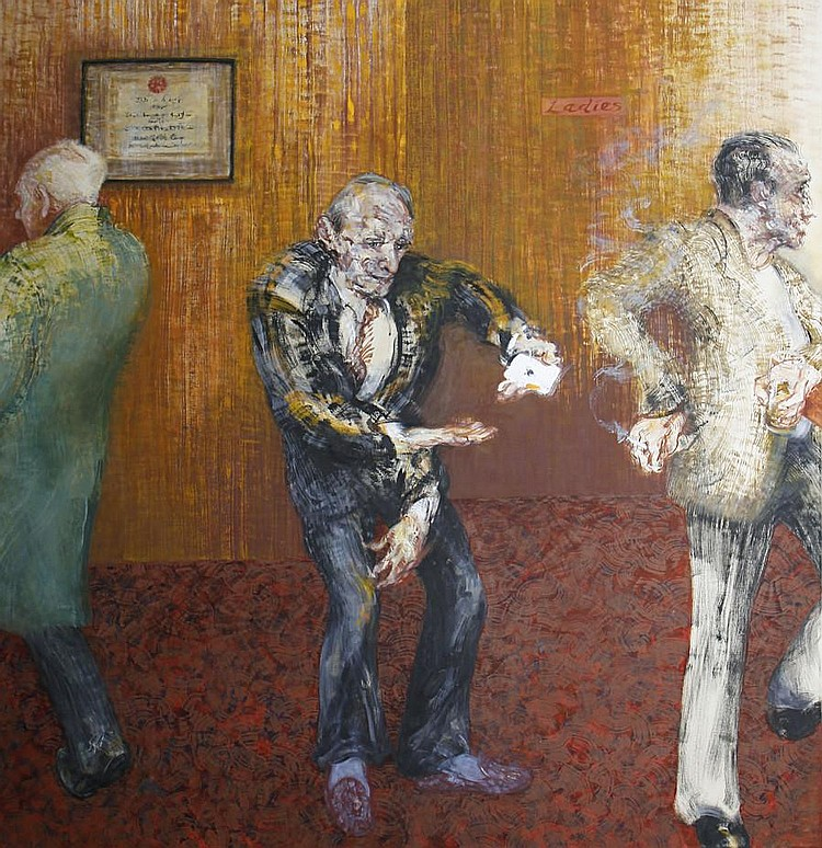 Maggi Hambling (British, born 1945) Card trick at the North Pole pub - Clapham