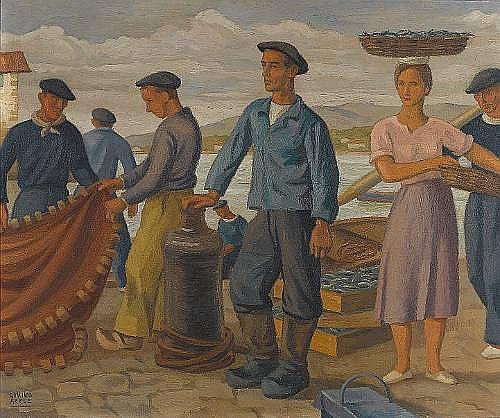Ramiro Arrue (Spanish, 1892-1971) Scène de Port de Pêche 54 x 65 cm (21 1/4 x 25 5/8 in)