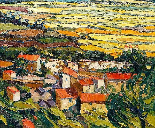 Alan Cotton (British, born 1936) Across the Provence Plain from Gordes