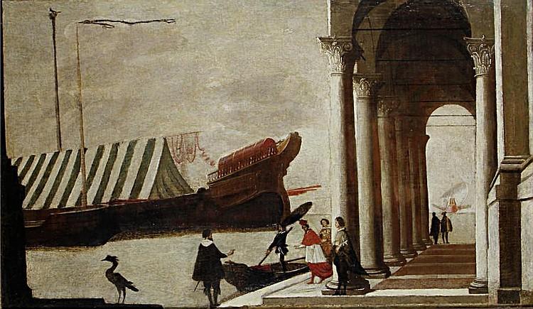 Follower of Agostino Buonamico, called Agostino Tassi (Perugia circa 1579-1644 Rome) Elegant figures before a Mediterranean harbour
