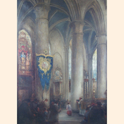 Joseph Horenbant (Belgian, 1863-1956), Cathedral Interior, oil on canvas, signed, 104.4 x 76cm