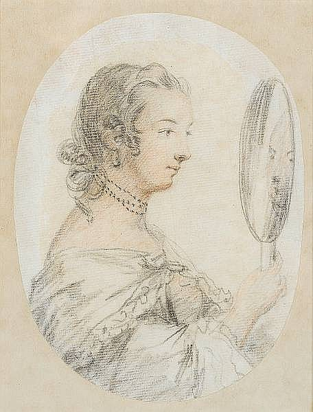 Penelope Carwardine (British, circa 1730-circa 1800) A Lady, in profile to the right gazing at her reflection in a hand held mirror, she wears dress, cloak and three strand choker