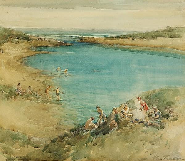 Alexander (Alec) Coutts Fraser (British, active 1886-1939) Bathers, Aberdeenshire