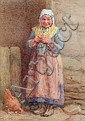Edith Hume (British, active 1862-1906) 'St. Patrick's Day', an old lady knitting,, Edith Hume, Click for value