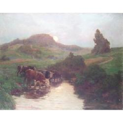 Albert Charpentier (French, 1878-?) Cattle watering at Dusk, 65 x 81cm