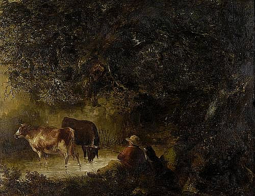 James Bateman (British, 1815-1849) Herd boy with his dog and cattle by a pool